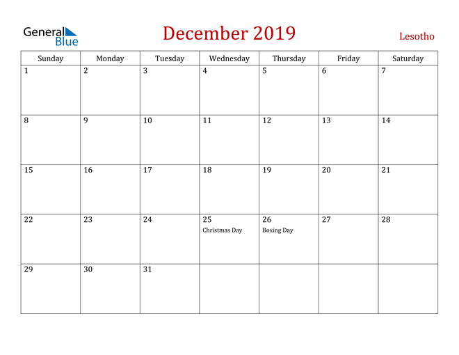 Image of December 2019 Dark and Red Professional Office Calendar Calendar