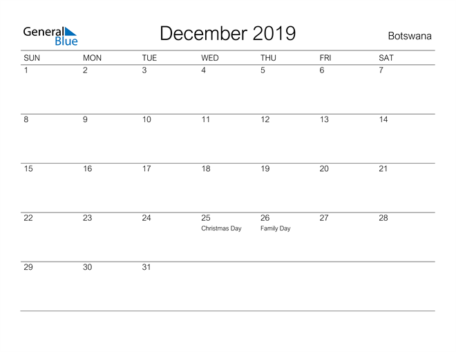 Image of December 2019 A Streamlined Design, The Perfect Printable Calendar. Calendar