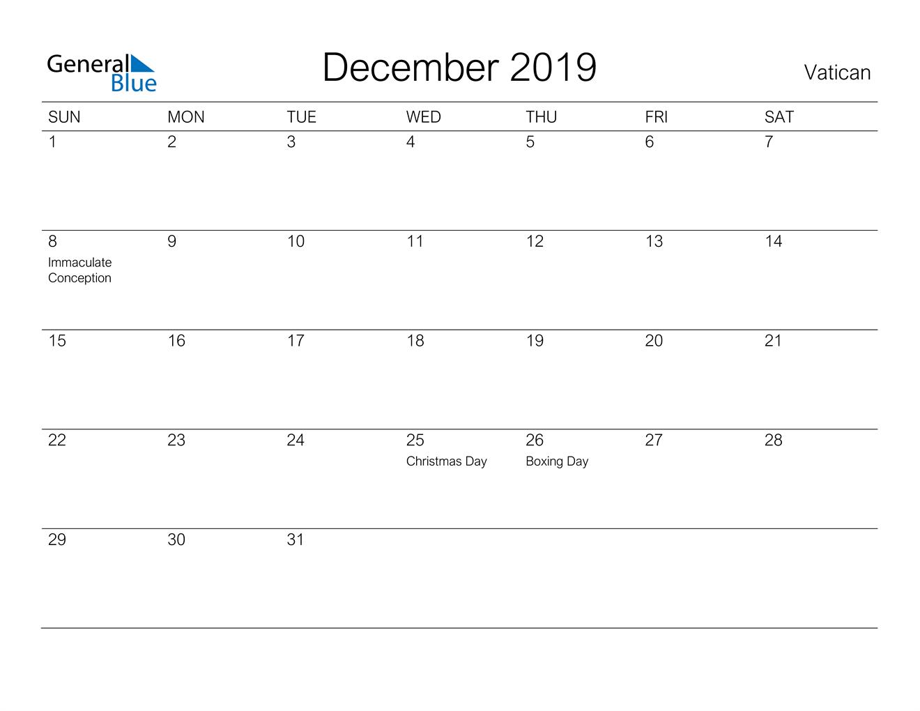 Image of December 2019 A Streamlined Design, The Perfect Printable Calendar. Calendar