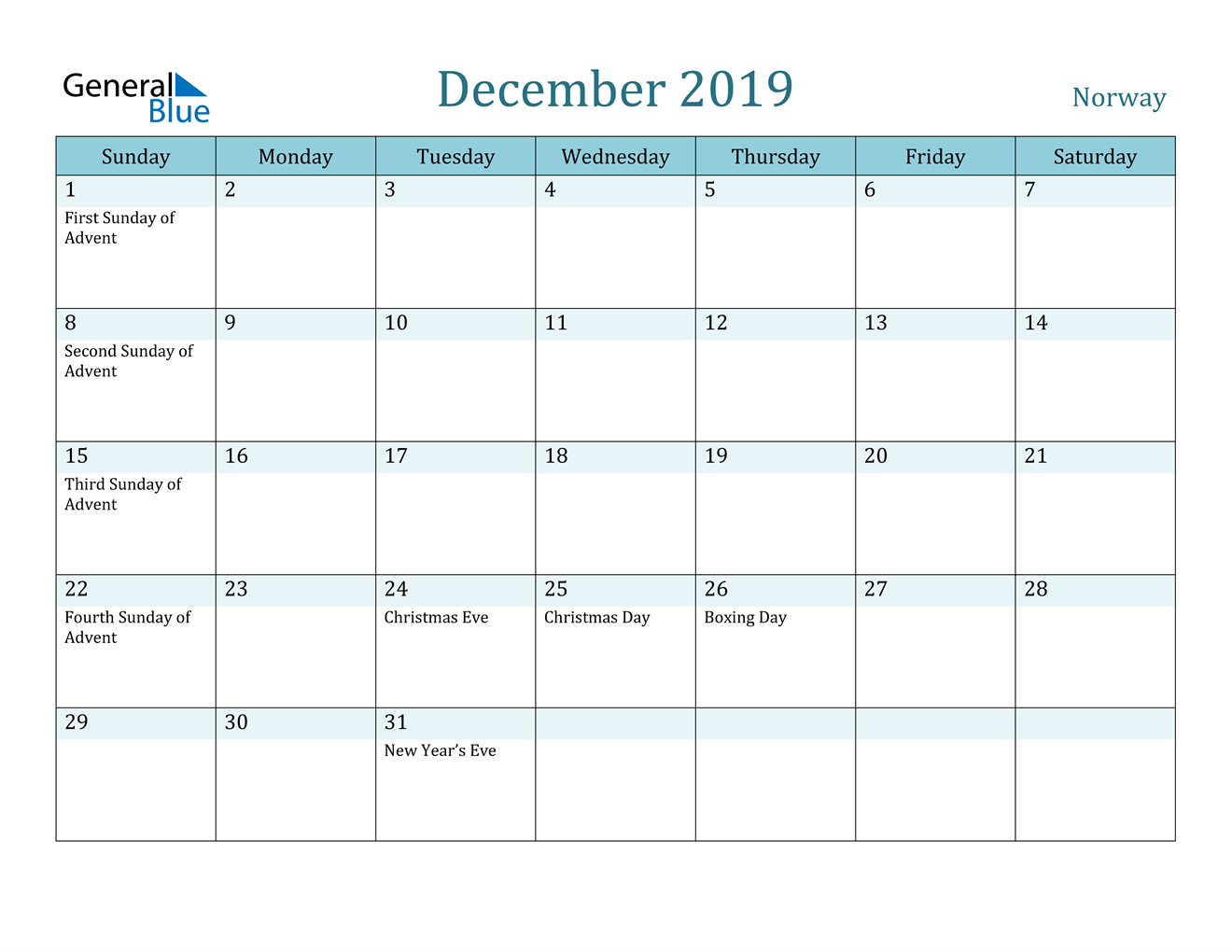 Image of December 2019 Colorful Turquoise Calendar in PDF, Word and Excel Calendar