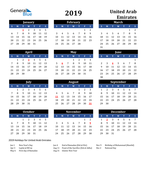 Image of United Arab Emirates 2019 Calendar in Blue and Black with Holidays