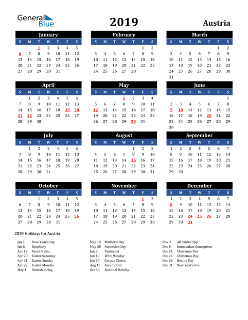 Image of Austria 2019 Calendar in Blue and Black with Holidays