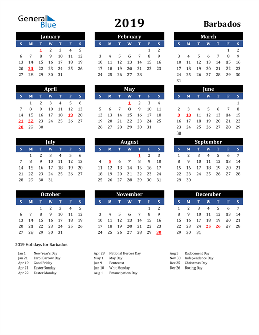 Image of Barbados 2019 Calendar in Blue and Black with Holidays