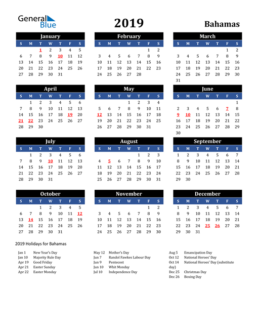 Image of Bahamas 2019 Calendar in Blue and Black with Holidays