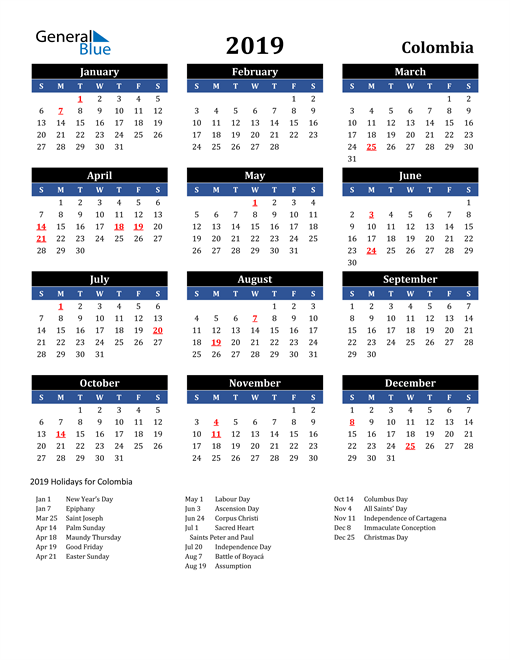 Image of Colombia 2019 Calendar in Blue and Black with Holidays