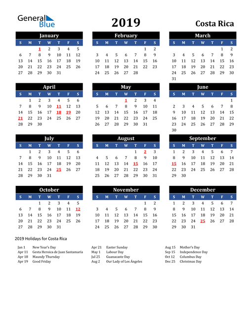 Image of Costa Rica 2019 Calendar in Blue and Black with Holidays