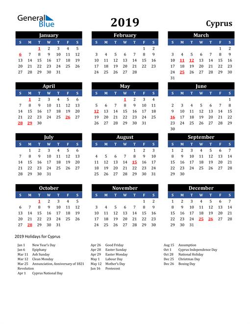 2019 Cyprus Free Calendar
