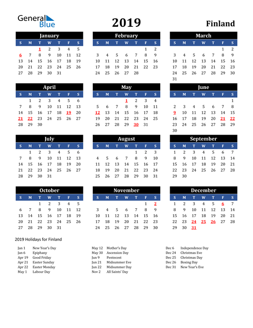 Image of Finland 2019 Calendar in Blue and Black with Holidays