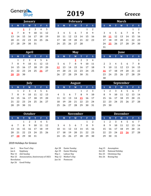 Image of Greece 2019 Calendar in Blue and Black with Holidays