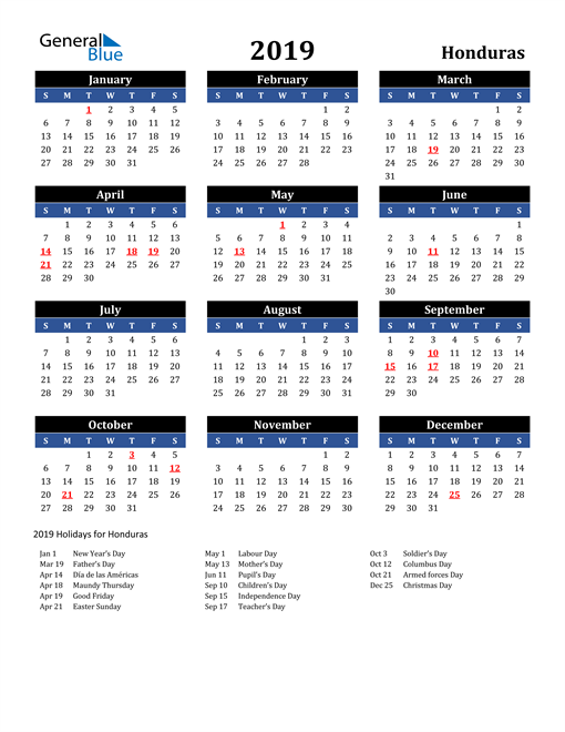 Image of Honduras 2019 Calendar in Blue and Black with Holidays