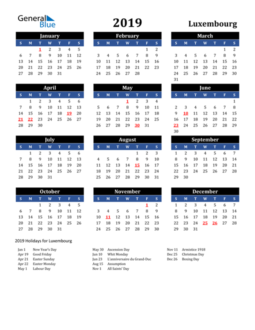 Image of Luxembourg 2019 Calendar in Blue and Black with Holidays