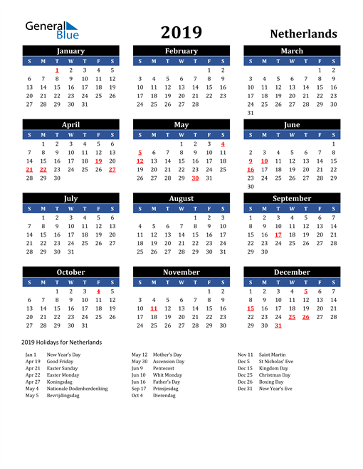 Image of Netherlands 2019 Calendar in Blue and Black with Holidays