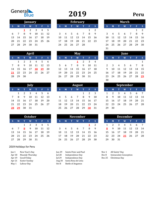 Image of Peru 2019 Calendar in Blue and Black with Holidays