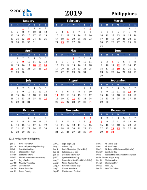 Image of Philippines 2019 Calendar in Blue and Black with Holidays