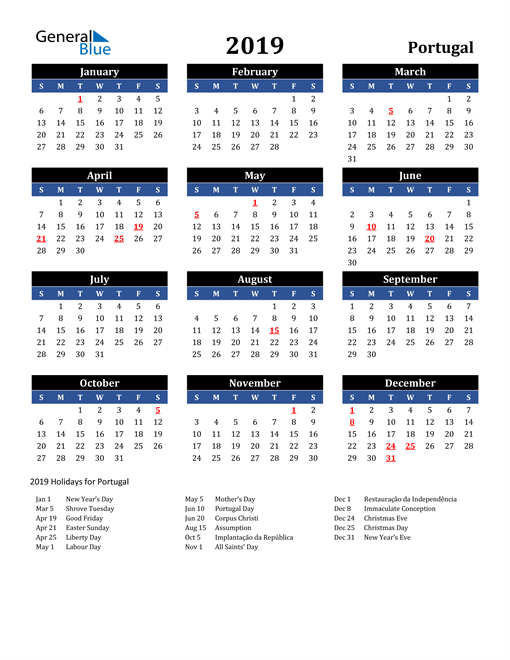 Image of Portugal 2019 Calendar in Blue and Black with Holidays
