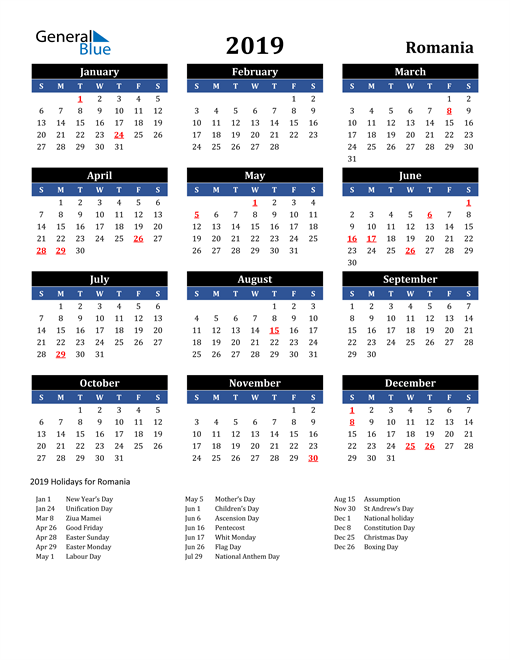 Image of Romania 2019 Calendar in Blue and Black with Holidays