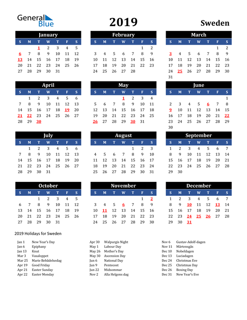 Image of Sweden 2019 Calendar in Blue and Black with Holidays