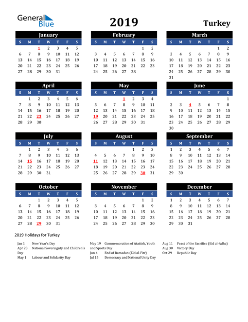Image of Turkey 2019 Calendar in Blue and Black with Holidays