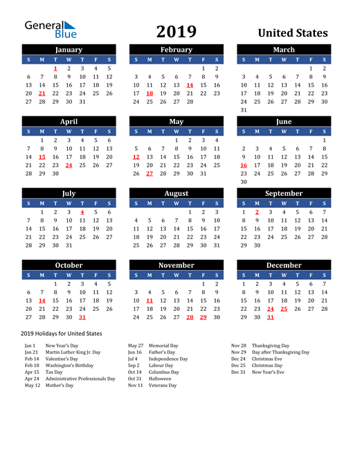 Image of United States 2019 Calendar in Blue and Black with Holidays