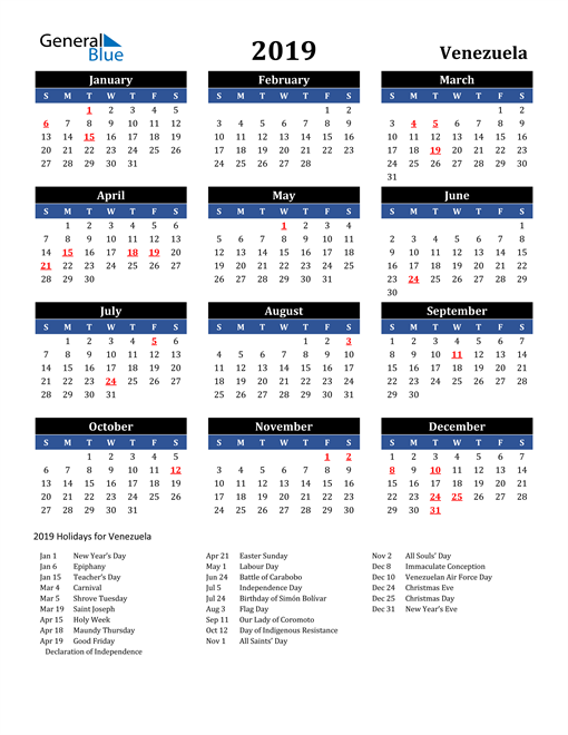 Image of Venezuela 2019 Calendar in Blue and Black with Holidays