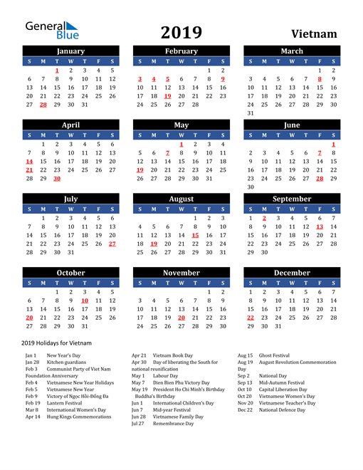 Image of Vietnam 2019 Calendar in Blue and Black with Holidays