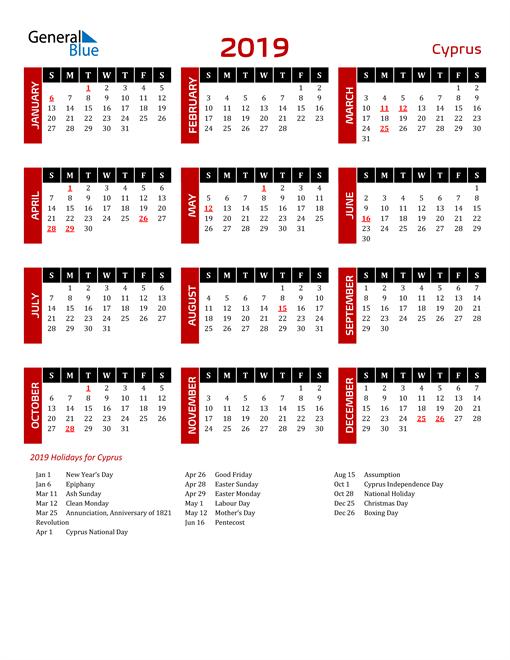 Download Cyprus 2019 Calendar
