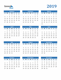 Image of 2019 2019 Calendar Blue with No Borders
