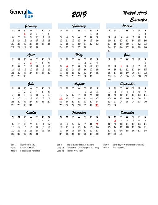 Image of 2019 Calendar in Script for United Arab Emirates