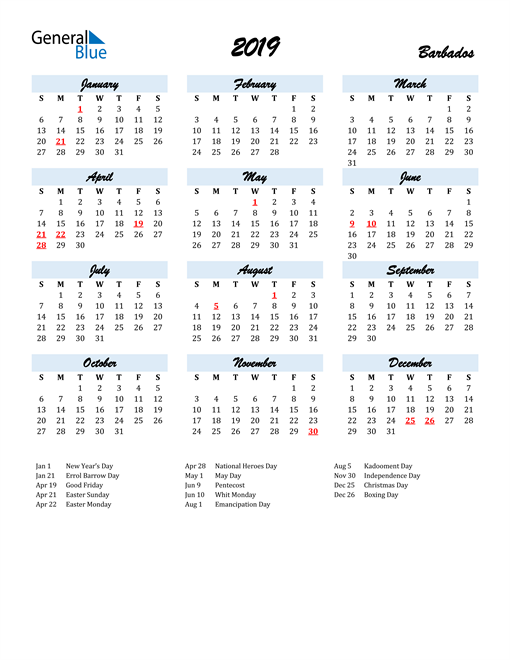 Image of 2019 Calendar in Script for Barbados