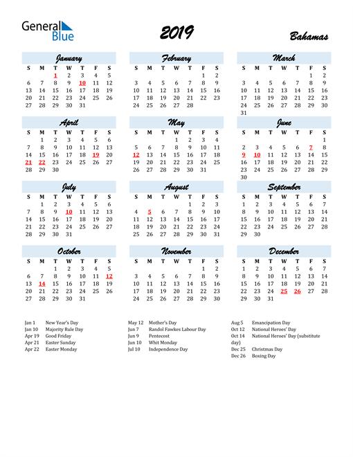 Image of 2019 Calendar in Script for Bahamas