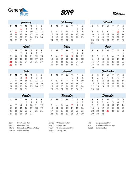 Image of 2019 Calendar in Script for Belarus