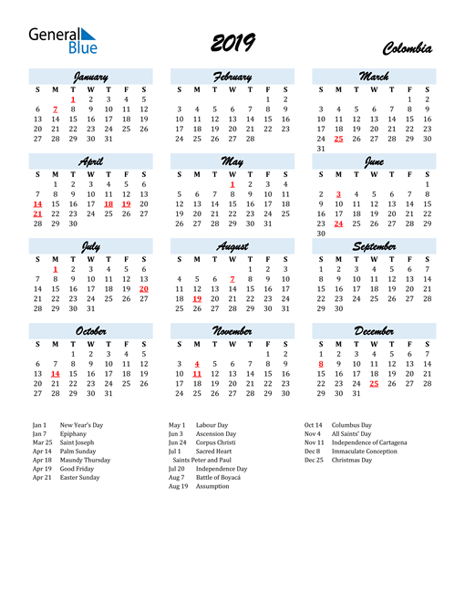 Image of 2019 Calendar in Script for Colombia