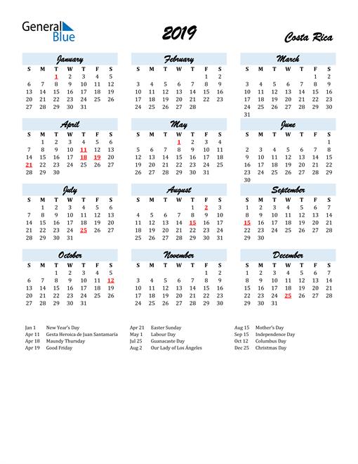 Image of 2019 Calendar in Script for Costa Rica
