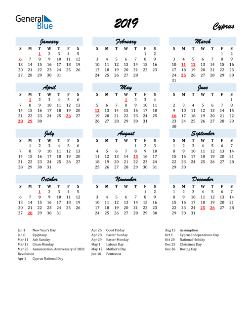 2019 Calendar for Cyprus with Holidays
