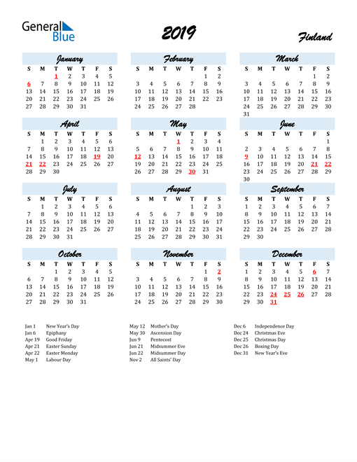 Image of 2019 Calendar in Script for Finland