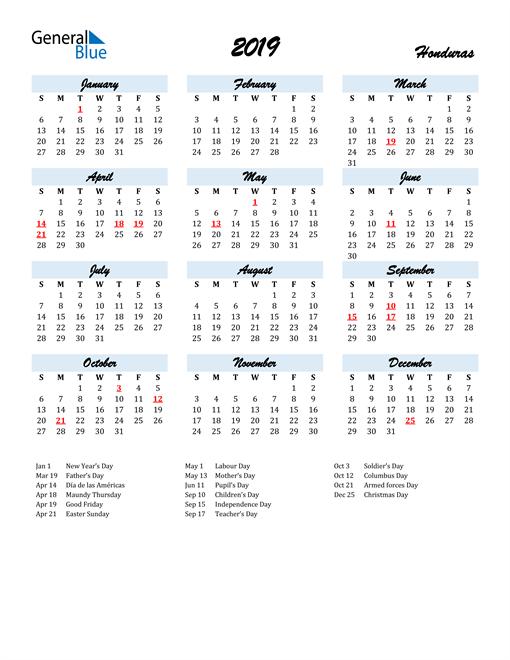 Image of 2019 Calendar in Script for Honduras