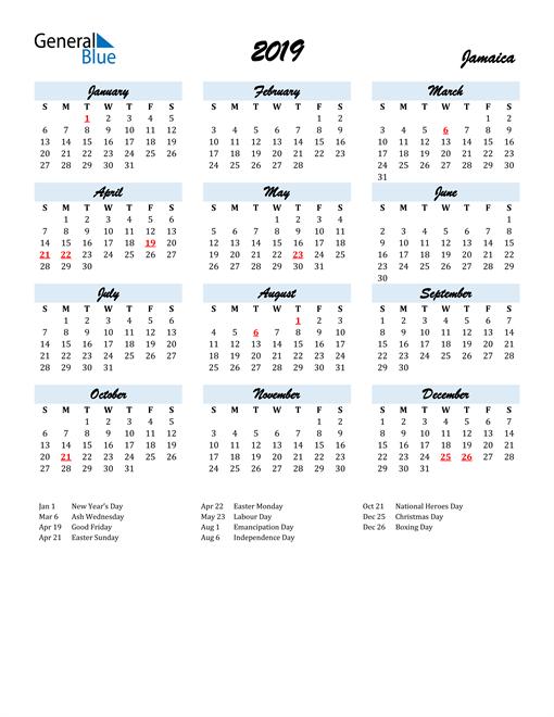Image of 2019 Calendar in Script for Jamaica