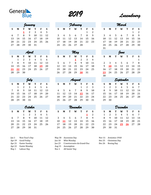 Image of 2019 Calendar in Script for Luxembourg