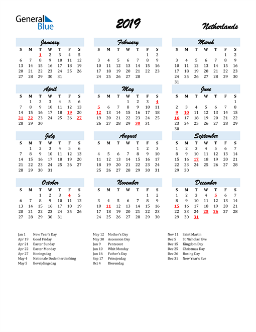Image of 2019 Calendar in Script for Netherlands