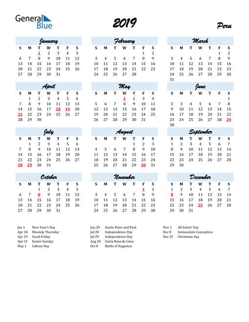 Image of 2019 Calendar in Script for Peru