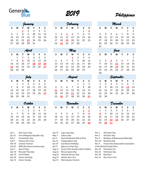 Image of 2019 Calendar in Script for Philippines