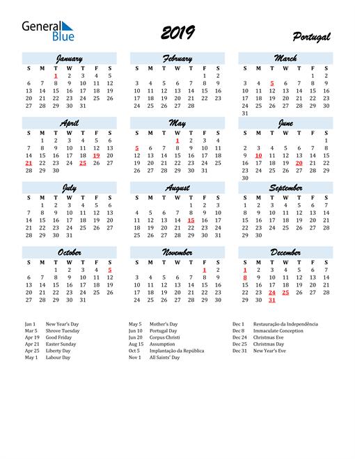 Image of 2019 Calendar in Script for Portugal