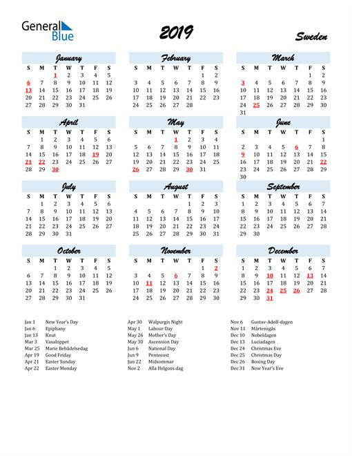 Image of 2019 Calendar in Script for Sweden