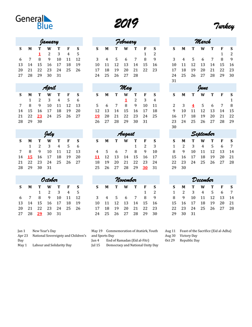 Image of 2019 Calendar in Script for Turkey
