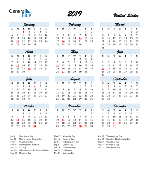 Image of 2019 Calendar in Script for United States