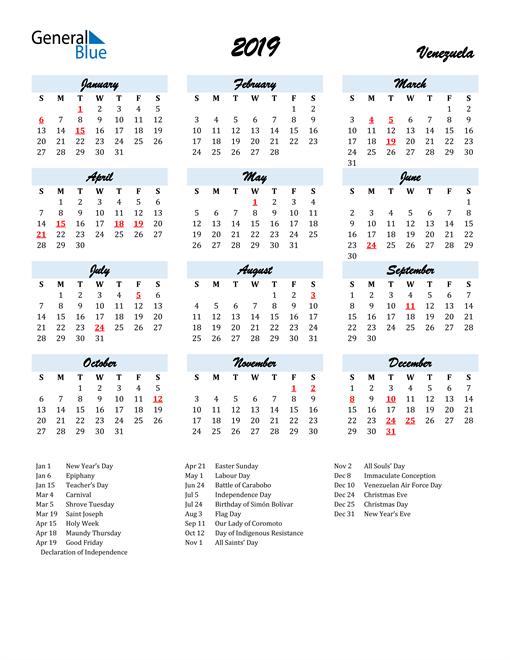 Image of 2019 Calendar in Script for Venezuela