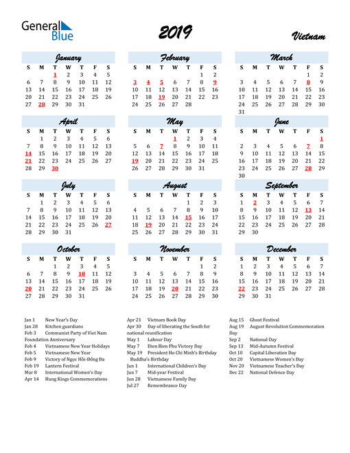 Image of 2019 Calendar in Script for Vietnam
