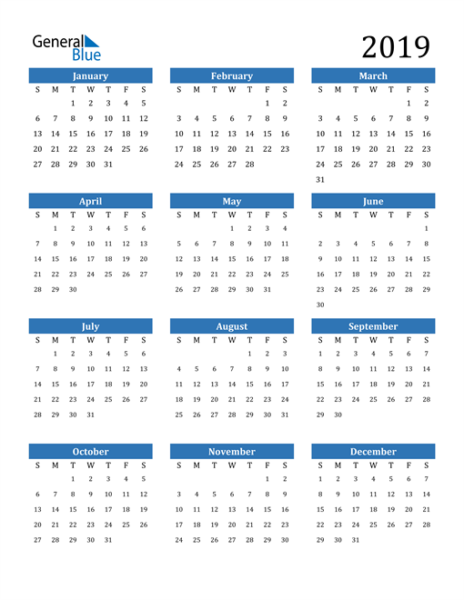 Image of 2019 2019 Calendar