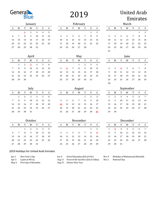 Image of 2019 Printable Calendar Classic for United Arab Emirates with Holidays