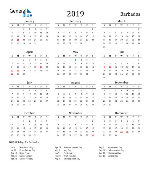 Image of 2019 Printable Calendar Classic for Barbados with Holidays